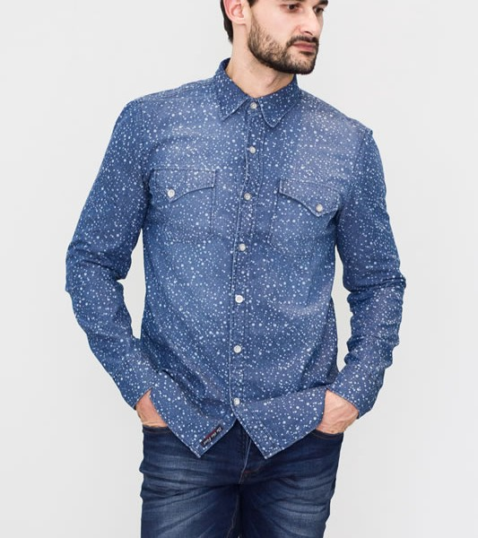 Camisa Jeans Masculina Estampa Poá  79058d81509
