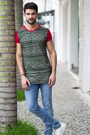 Camiseta masculina estampa étnica | Camisetas | Divinópolis MG