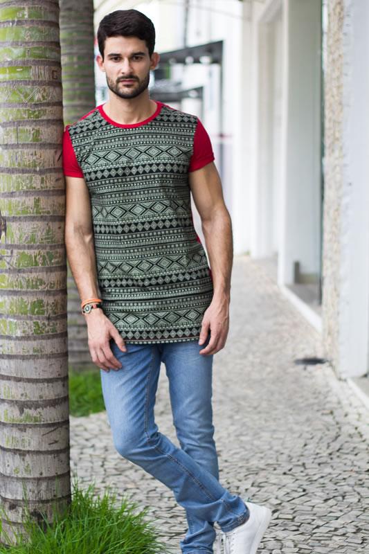2f6a29640 Camiseta masculina estampa étnica | Camisetas | Divinópolis MG