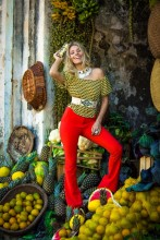Calca flare feminina com cos alto - Comprar calcas femininas no atacado - Roupas em Divinopolis MG